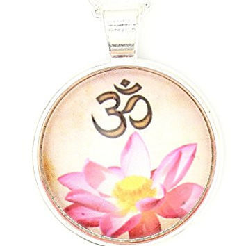 Lotus Flower Om Necklace Silver Tone Aum Hindu Buddhist Yoga Art Print Pendant NP51 Fashion Jewelry