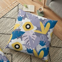 'Purple spring botany' Floor Pillow by cocodes