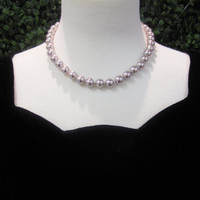 Hand Knotted Glass Pearls Pale Lavender Grey Brown Pearls Costume Jewelry Wedding Necklace