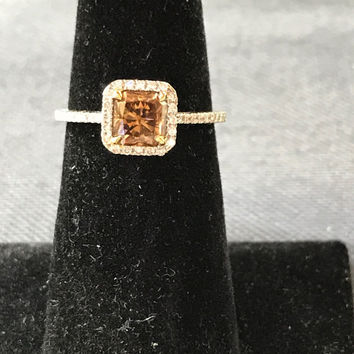 Fancy Cognac Radiant Cut Diamond Promise Ring 18k White Gold