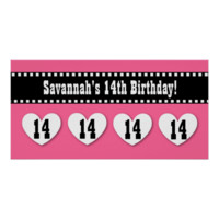 14th Birthday Pink Black Hearts Banner Custom V14H Posters