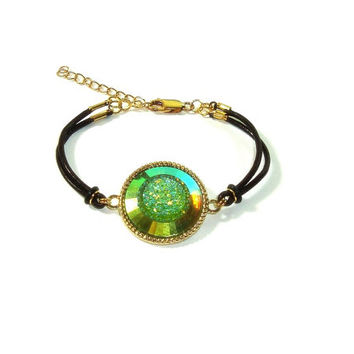 Iridescent Green Druzy Bracelet , Brown Leather Bracelet