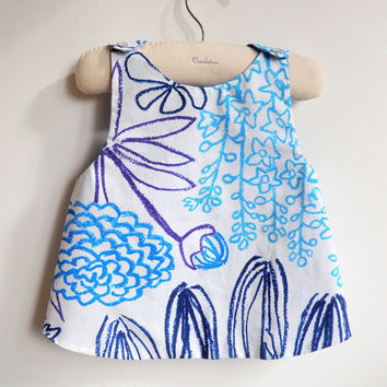 Reversible Pinafore top or dress - The Saint Tropez - French Style - 6 months to 5Y