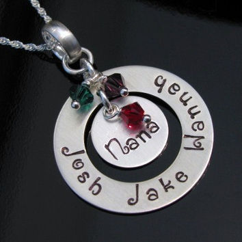 SALE 20% Off* Washer Hand Stamped Nana Grandma Sterling Silver Necklace Personalized with Grandchildren Child Names