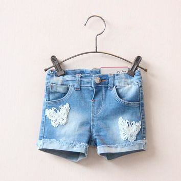 New Arrival Fashion Baby Girls Denim Shorts Summer kids Jeans Shorts Kids Lace Butterfly Short Pants for 2-8 years child