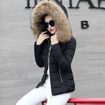 Women's Fur Collar Hooded Jacket