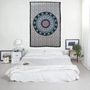 Elephant and Deer Mandala Print Boho Indian Tapestry Hippie Bohemian Bedspread Wall Hanging for Bedroom Living Room 80 X 60 inches Cotton Tapestry