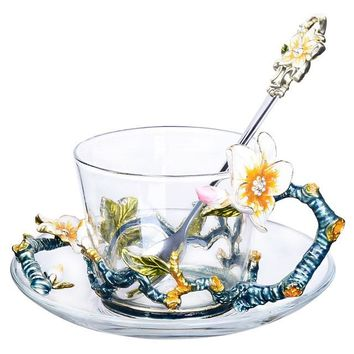 Enamel Glass Tea Cup with White Flower