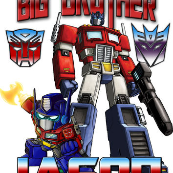Personalized Custom NAME T-shirt Big Brother Transformers Optimus Prime