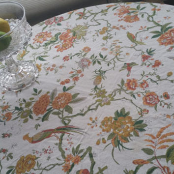 Botanical Floral and Bird Pattern Oval Tablecloth Pom Pom Trim 68 in x 65in