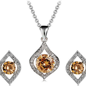 925 Silver Plated Yellow Crystal Decorated Earrings & Necklace Set