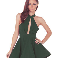 Keyhole Detailed Halter Skater Dress
