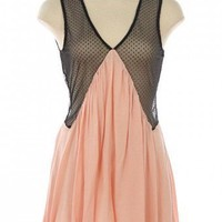 PEACH CONTRAST V KNIT DRESS @ KiwiLook fashion