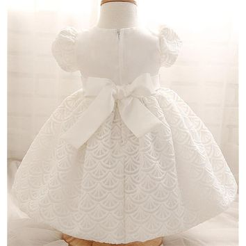 White Baby Dresses For Baptism Wedding Baby Girl 1st Birthday Dress Lace Corchet Christening Gown Kid Party Wear Toddler Clothes