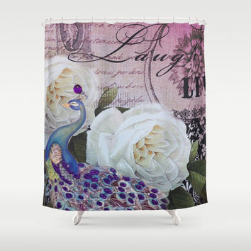 elegant vintage peacock floral paris eiffel tower Shower Curtain by Chicelegantboutique