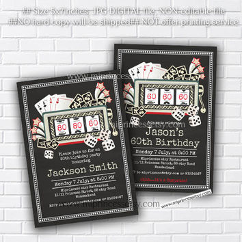 Poker Playing Card birthday invitation, Casino Slot machine jackpot invite for any age 30th 40th 50th 60th 70th 80th card 439