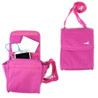 JAVOedge Pink Canvas Travel Tech Neck or Side Pouch with Adjustable Strap, Zipper Pockets, Expanding Pouch