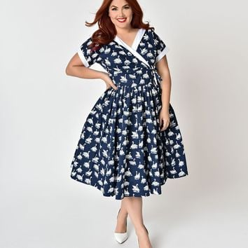 Unique Vintage Plus Size 1950s Style Navy Blue & White Swan Print Pleated Waldorf Swing Dress