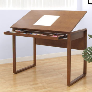 "Ponderosa Wooden Drafting Table (Sonoma Brown) (31""H x 42""W x 24""D)"