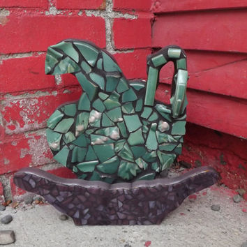 Mosaic Pitcher and Basin Wall Hanging, Victorian Home Decor