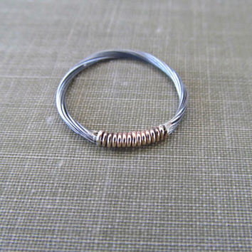 Gold and Silver Guitar String Ring // Wire Wrapped Guitar String Simple Ring // Upcycled Guitar String Wedding Band