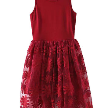 Red Gauze Paneled Floral Embroidery Skater Dress
