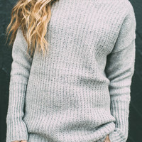 Grey Ribbed Sweater – Ily Couture