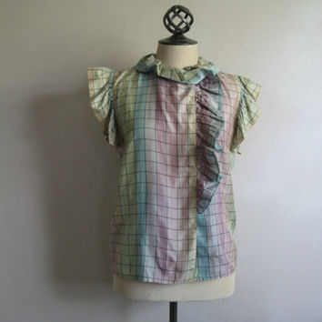 Vintage 1970s Summer Blouse Pastel Check 70s Ruffle Cap Sleeve Shift Blouse Small