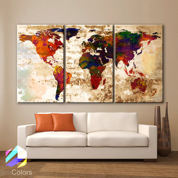 "LARGE 30""x 60"" 3 Panels Art Canvas Print Watercolor Texture Map Old brick Wall Full color red orange decor Home interior (framed 1.5"" depth)"