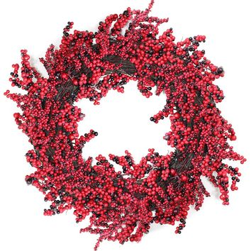 "22"" Decorative Artificial Burgundy Red Berry Christmas Wreath - Unlit"