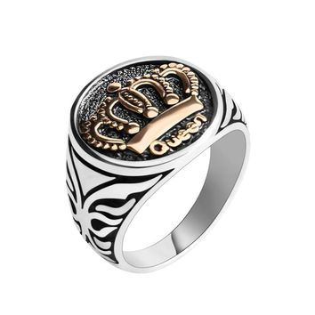 New Arrival Antique Silver Goden Queen King Crown Signet Finger Ring For Men Women Punk Gothic Biker Rock Party Band Jewelry