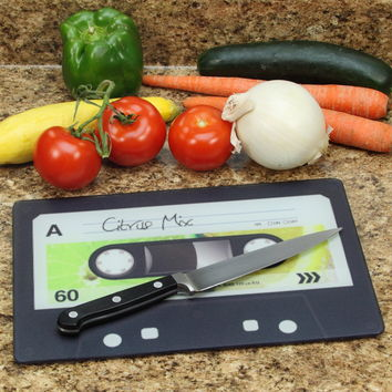 Citrus Mix Audio Cassette Glass Kitchen Cutting Board_D