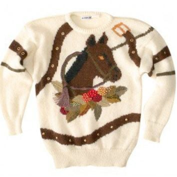 "Shop Now! Ugly Sweaters: ""Horse Head In My Bed"" Vintage 80s Tacky Ugly Sweater Women's Size Medium (M) $22 - The Ugly Sweater Shop"