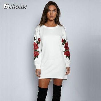 Echoine Fashion Rose Flower Embroidery Long Sleeve Pullover Hoodies Mini Dress 2017 New Autumn Winter Sweatshirts Jumper Hoodie