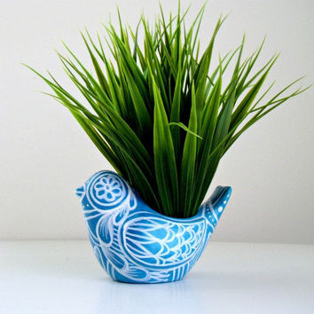 Bird Planter Ceramic Turquoise Blue White Folk Art Spring Home Decor Vase Hand Painted Tattoo Flowers Hearts - READY TO SHIP