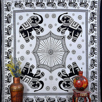 Black & White Elephant Indian Tapestry Hippie Bedsheet Ethnic TIUK DBS107