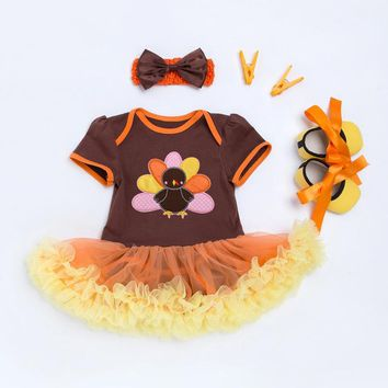 3PC Thanksgiving Day Turkey Outfit Matching Shoes and Headband