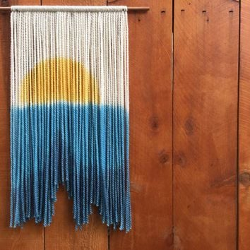 Ocean Yarn Wall Hanging, Ocean Wall Tapestry, Sunset Tapestry, Ocean Inspired Art, Ocean Sunset, Yarn Wallhanging, Macreme WallHanging