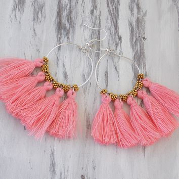Blush Pink and Gold Bohemian Tassel Earrings