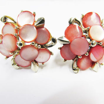 Vintage Marhill Peachy Pink Mother of Pearl Clip on Earrings