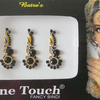 12 Long Black/Silver/Gold wholesale Indian bindi,Tribal bindi collection,Wedding bindi,Stone bindi tikka,Designer long bindi stickers USA