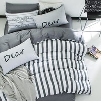 4pcs 100%cotton white grey stripe kids boys bedding set twin queen size bedcover set fit/bedsheet duvet cover pillowcases
