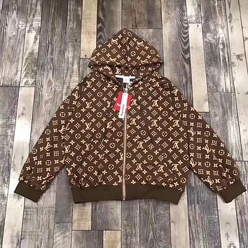 Supreme x Louis Vuitton Men Women Zip Jacket Coat
