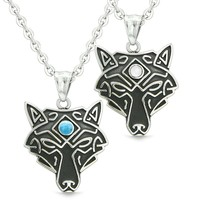 Celtic Wolf Third Eye Love Couple or Best Friends White Simulated Cats Eye Simulated Turquoise Necklaces
