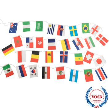 Jetlifee String Flag For 2018 World Cup, Group Match 32 Teams Countries Soccer Decoration Banners for Restaurants, Sport Bars, Decor of Garden Game Night