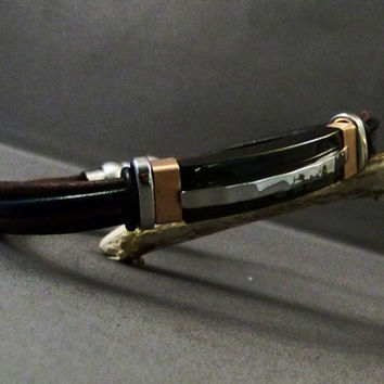 Leather and Stainless Steel Bracelet THREE by 4MLeatherDesign