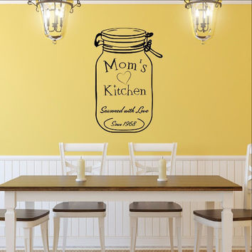 Moms Kitchen Custom Decal with Jar with Date Vinyl Decal 22522
