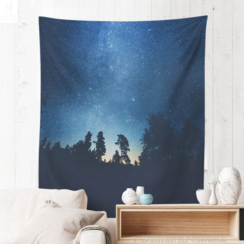 Starry Wanderlust Forest Tapestry, Wanderlust Wall Tapestry, Forest Wall Art, Home Decor, Wall Decor, Dorm Decor, Original Photography, Gift