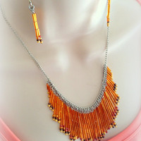 Stunning Seed Bead Dangle Necklace and Earring set with over 300 Colorful beads, Beaded Necklace, Drop style necklace, Gift for her, Unique