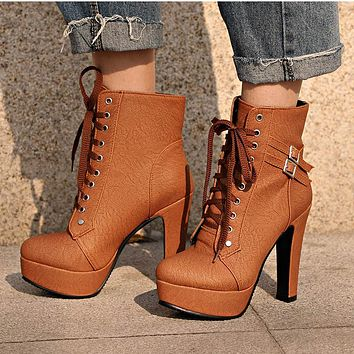 MCCKLE Plus Size Ankle Boots For Women Platform High Heels